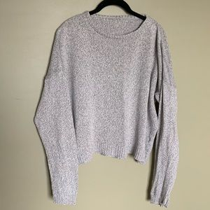 Sweaters - Grey knit crew neck sweater cotton blend